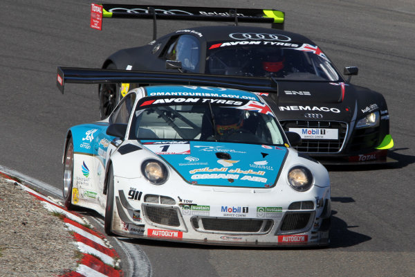 2013 British GT Championship, Zandvoort, The Netherlands. 6th - 8th September 2013. Ahmad Al Harthy / Michael Caine Oman Air Motorbase Porsche 997 GT3R. World Copyright: Ebrey / LAT Photographic.