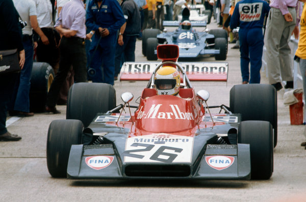 1973 British Grand Prix.  Silverstone, England. 12-14th July 1973.  Graham McRae, Williams IR01 Ford, in the pits.  Ref: 73GB19. World Copyright: LAT Photographic