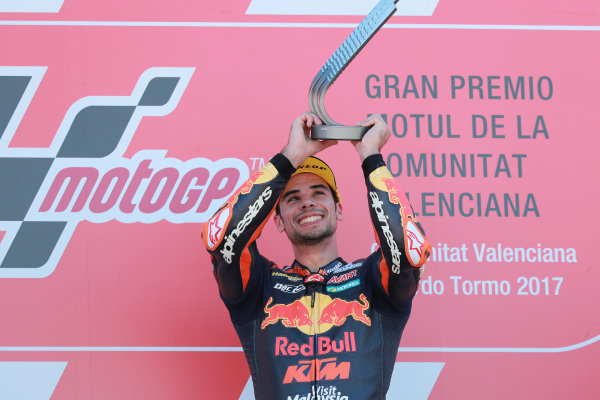 2017 Moto2 Championship - Round 18 Valencia, Spain  Sunday 12 November 2017 Podium: Race winner Miguel Oliveira, Red Bull KTM Ajo  World Copyright: Gold and Goose Photography/LAT Images  ref: Digital Image 706492