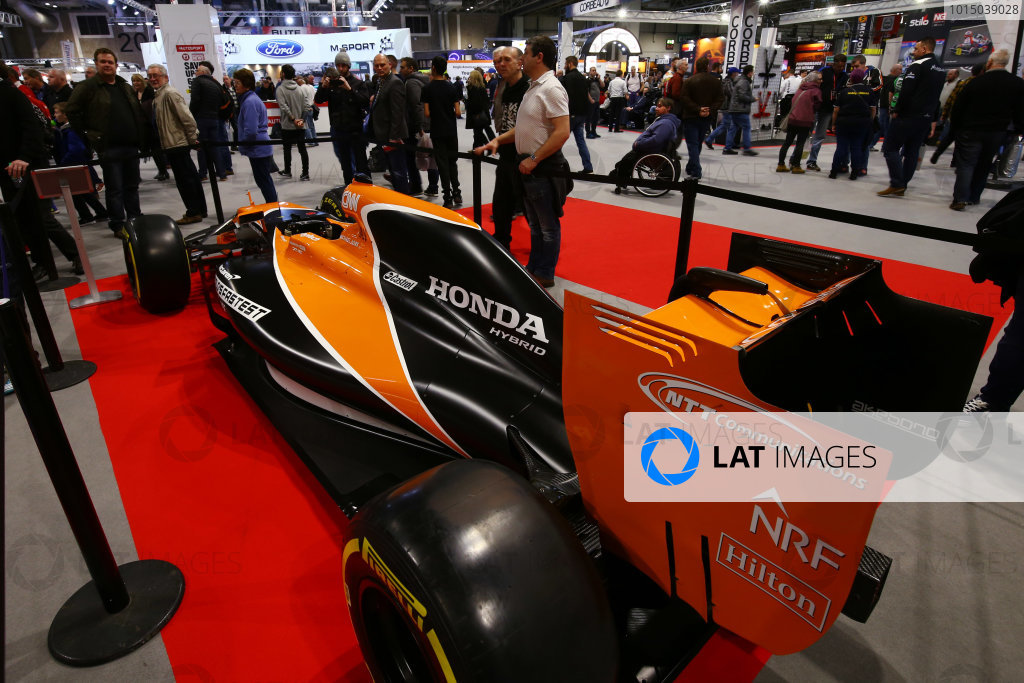 Autosport International Exhibition. National Exhibition Centre, Birmingham, UK. Sunday 14th January 2018. A McLaren next to the Autosport stand.World Copyright: Mike Hoyer/JEP/LAT Images Ref: AQ2Y0005