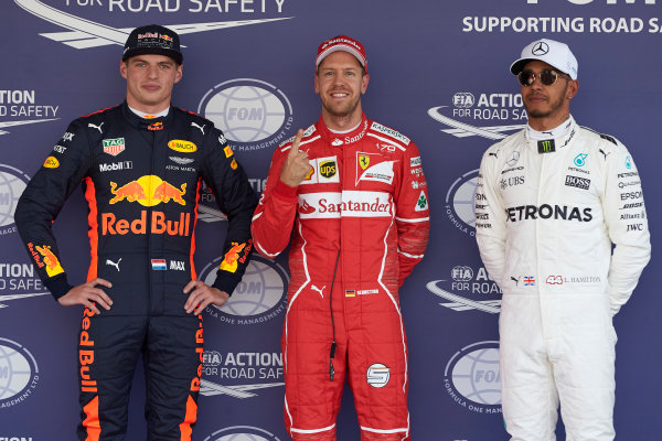 Autodromo Hermanos Rodriguez, Mexico City, Mexico. Saturday 28 October 2017. Top three qualifiers Sebastian Vettel, Ferrari, Max Verstappen, Red Bull, and Lewis Hamilton, Mercedes AMG. World Copyright: Steve Etherington/LAT Images  ref: Digital Image SNE13755