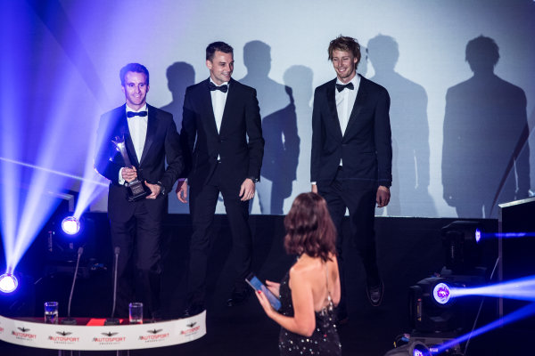2017 Autosport Awards Grosvenor House Hotel, Park Lane, London. Sunday 3 December 2017. WEC Champions Brendon Hartley, Timo Bernhard and Earl Bamber on stage. World Copyright: Joe Portlock/LAT Images  ref: Digital Image _L5R8870