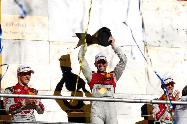 2017 DTM Round 9  Hockenheimring, Germany  Sunday 15 October 2017. Champion Podium: Champion René Rast, Audi Sport Team Rosberg, Audi RS 5 DTM  World Copyright: Alexander Trienitz/LAT Images ref: Digital Image 2017-DTM-HH2-AT2-2216