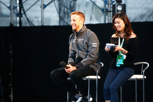 Suzuka Circuit, Japan. Friday 06 October 2017. Jenson Button, McLaren, on stage in the F1 fanzone. World Copyright: Andy Hone/LAT Images  ref: Digital Image _ONZ1722