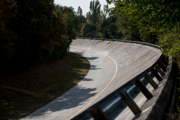 2017 GP3 Series Round 6.  Autodromo Nazionale di Monza, Monza, Italy. Thursday 31 August 2017. The old Monza banking. Photo: Zak Mauger/GP3 Series Media Service. ref: Digital Image _54I4884