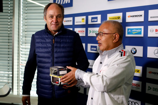 2017 DTM Round 9  Hockenheimring, Germany  Sunday 15 October 2017. Press Conference: Gerhard Berger, ITR Chairman and Masaki Bando, Chairman GTA  World Copyright: Alexander Trienitz/LAT Images ref: Digital Image 2017-DTM-HH2-AT1-0474
