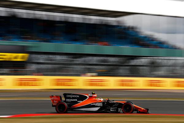 Silverstone, Northamptonshire, UK.  Friday 14 July 2017. Stoffel Vandoorne, McLaren MCL32 Honda. World Copyright: Glenn Dunbar/LAT Images  ref: Digital Image _31I2979