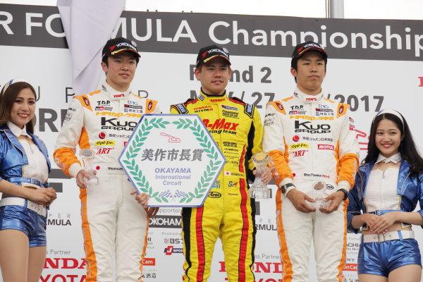 2017 Japanese Formula 3 Championship. Okayama, Japan. 27th - 28th May 2017. Rd 8 & 9. Rd 8 Winner Mitsunori Takaboshi ( #23 B-MAX NDDP F3 ) 2nd position Ritomo Miyata ( Corolla Chukyo Kuo TOM?S F314 ) 3rd position Sho Tsuboi ( #1 Corolla Chukyo Kuo TOM?S F317 ) podium portrait World Copyright: Yasushi Ishihara / LAT Images. Ref: 2017JF3_Rd8_007