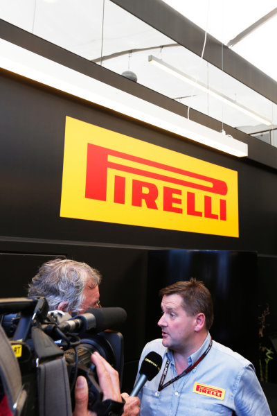 Silverstone, Northamptonshire, England. 30th June 2013. Paul Hembery, Director, Pirelli, holds a Press Conference after the race World Copyright: Charles Coates/  ref: Digital Image _N7T4969