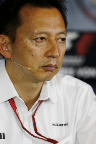 Red Bull Ring, Spielberg, Austria. Friday 01 July 2016. Yusuke Hasegawa, Senior Managing Officer, Honda, in the team principals Press Conference. World Copyright: Andy Hone/LAT Photographic ref: Digital Image _ONZ5098