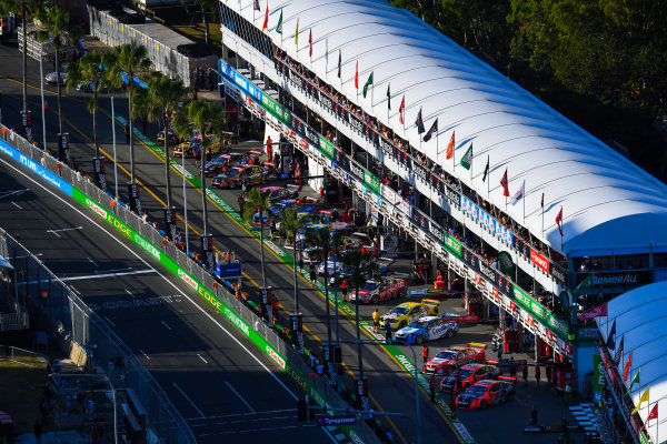 2016 Supercars Championship Round 12.  Gold Coast 600, Surfers Paradise, Queensland, Australia. Thursday 21st October to Sunday 23rd October 2016. Cars form up in pit lane prior to Practice. World Copyright: Daniel Kalisz/LAT Photographic Ref: Digital Image 211016_VASCR12_GOLDCOAST600_DKIMG_1797.JPG