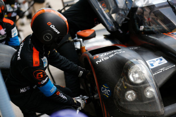 2014 Le Mans 24 Hours. Circuit de la Sarthe, Le Mans, France. Sunday 15 June 2014. Alex Brundle/Jann Mardenborough/Mark Shulzhitsky, Oak Racing, No.35 Morgan Nissan.  World Copyright:Sam Bloxham/LAT Photographic. ref: Digital Image _SBL2835