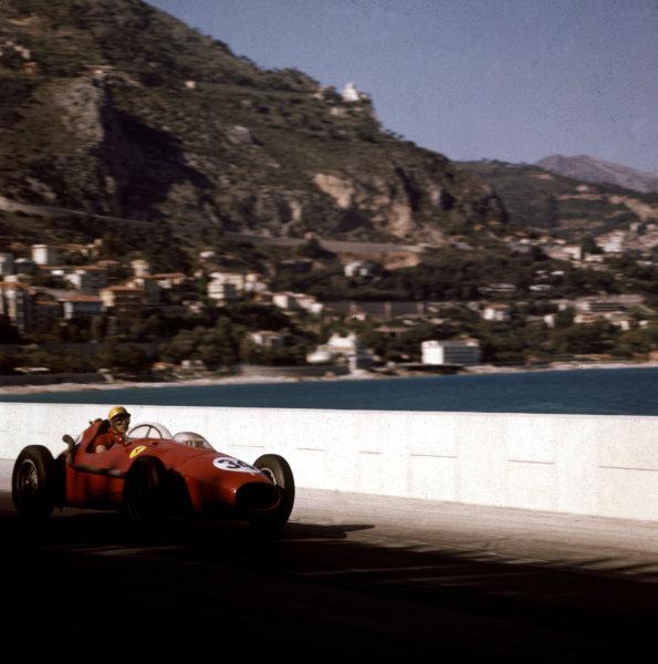 1958 Monaco Grand Prix.Monte Carlo, Monaco.15-18 May 1958.Luigi Musso (Ferrari Dino 246) 2nd position.Ref-3/0003.World Copyright - LAT Photographic