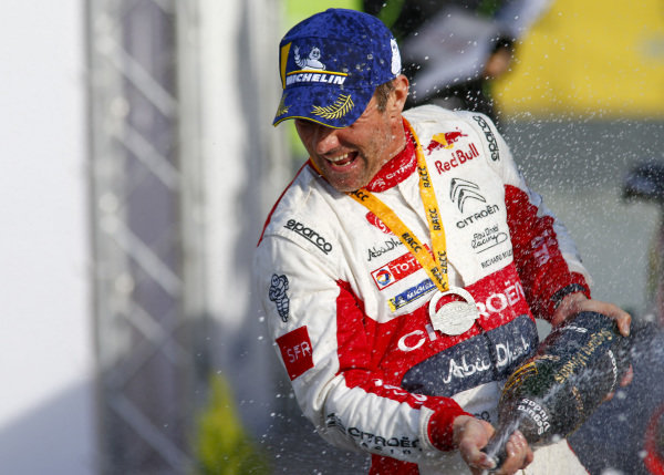 Sébastien Loeb, Citroen Racing, Citroën C3 WRC, celebrates winning Rally Spain 2018