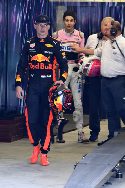 NOT FOR SALE OR PUBLICATION IN HOLLAND.Max Verstappen, Red Bull Racing and Esteban Ocon, Racing Point Force India square up after the race following their on track crash