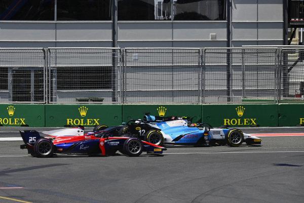 Lirim Zendeli (DEU, MP Motorsport), and Marino Sato (JPN, Trident), pass Richard Verschoor (NLD, MP Motorsport) after a spin