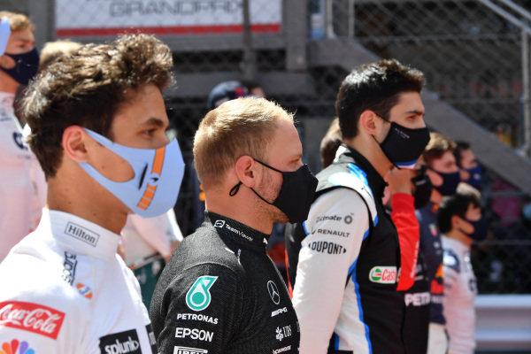 Lando Norris, McLaren, Valtteri Bottas, Mercedes, and Esteban Ocon, Alpine F1