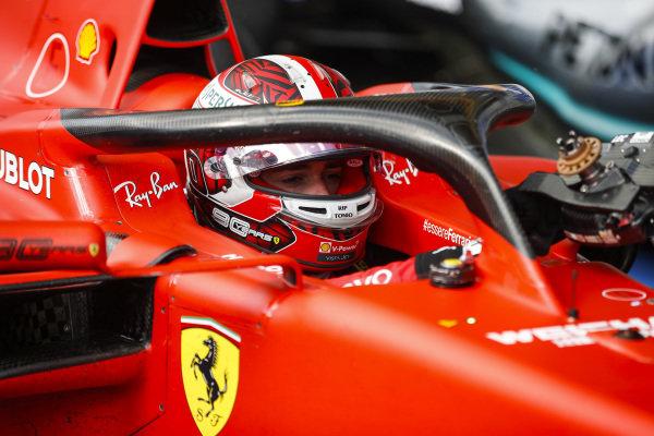 Charles Leclerc, Ferrari, 1st position, arrives in Parc Ferme
