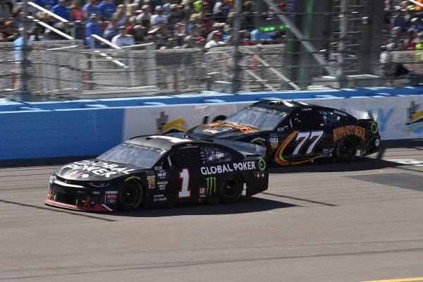 #1: Kurt Busch, Chip Ganassi Racing, Chevrolet Camaro Global Poker and #77: Quin Houff, Spire Motorsports, Chevrolet Camaro Rim Ryderz