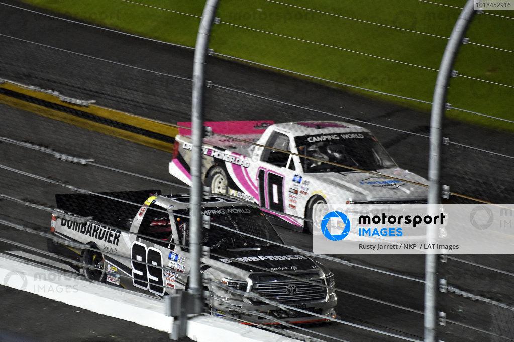 #99: Ben Rhodes, ThorSport Racing, Toyota Tundra Bombardier LearJet 75 and #10: Jennifer Jo Cobb, Jennifer Jo Cobb Racing, Chevrolet Silverado