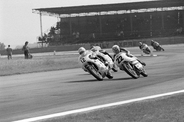 Mick Grant, Triumph Trident, leads Dave Croxford, Norton Commando, and Percy Tait, Triumph Trident.