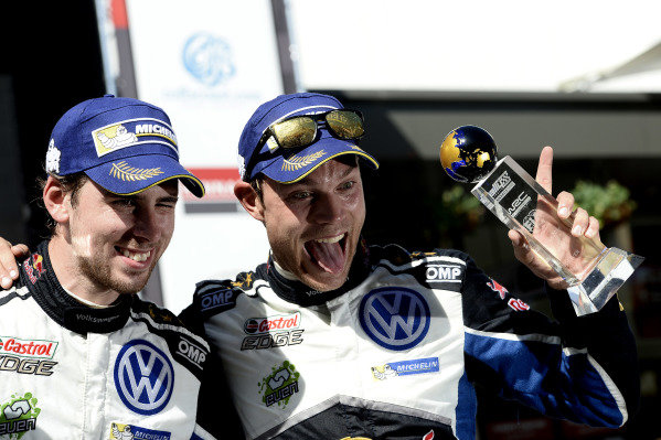 Rally winners Andreas Mikkelsen (NOR) / Anders Jaeger Synnevag (NOR), Volkswagen Motorsport II WRC celebrate on the podium with the trophies at FIA World Rally Championship, Rd13, Rally Australia, Day Three, Coffs Harbour, New South Wales, Australia, 20 November 2016.