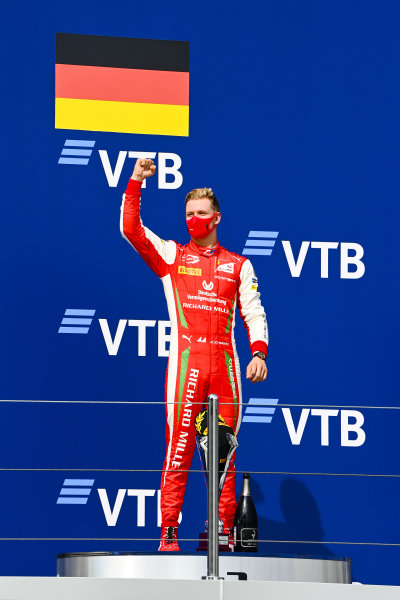 Race Winner Mick Schumacher (DEU, PREMA RACING) celebrates on the podium