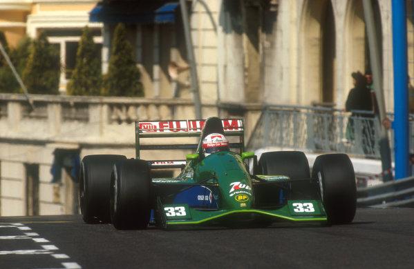 1991 Monaco Grand Prix.Monte Carlo, Monaco.26-28 April 1991.Andrea de Cesaris (Jordan 191 Ford). He exited the race with a broken throttle cable.Ref-91 MON 22.World Copyright - LAT Photographic