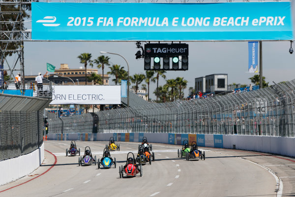 2014/2015 FIA Formula E Championship. Long Beach ePrix, Long Beach, California, United States of America. Saturday 4 April 2015 Greenpower School Series race start. Photo: Zak Mauger/LAT/Formula E ref: Digital Image _L0U7870