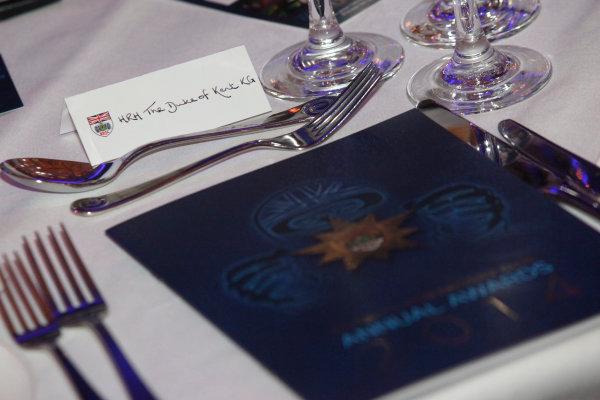 2014 BRDC Annual Awards The Grand Connaught Rooms, London, UK Monday 8 December 2014. HRH The Duke of Kent's table setting. World Copyright: Ebrey/LAT Photographic. ref: Digital Image HRH-04