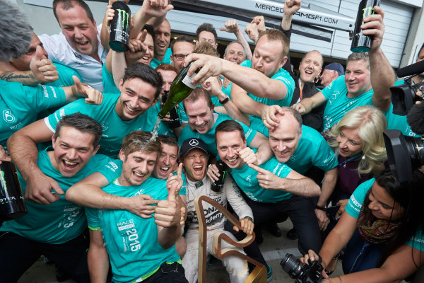 Red Bull Ring, Spielberg, Austria. Sunday 21 June 2015. Nico Rosberg, Mercedes AMG, 1st Position, celebrates with his team. World Copyright: Steve Etherington/LAT Photographic. ref: Digital Image SNE25028