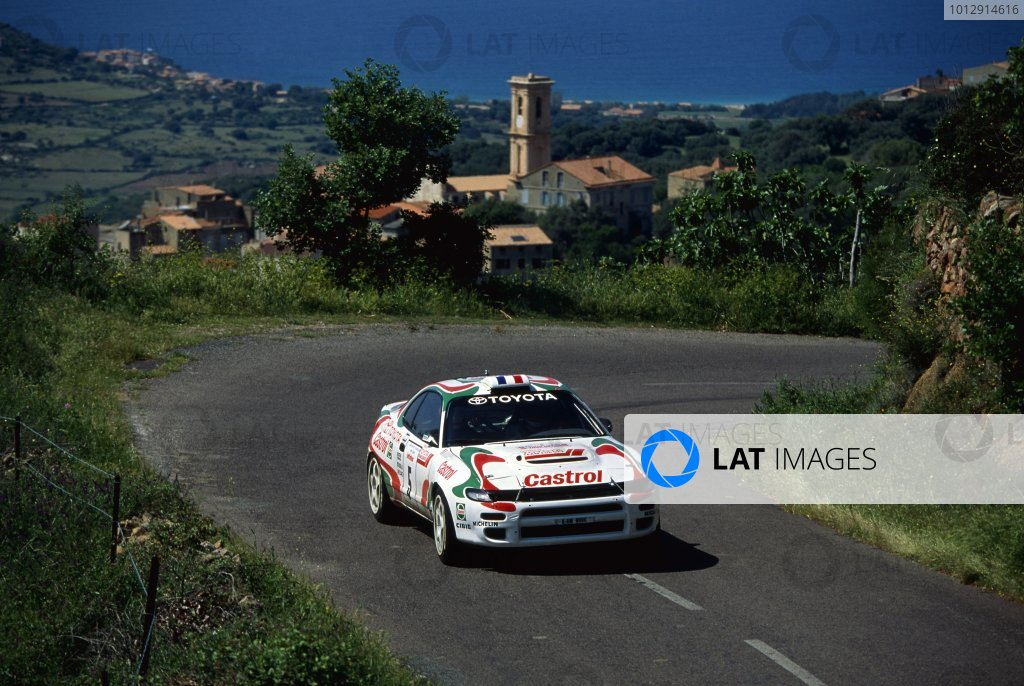 1994 World Rally Championship.Tour de Corse, Cosica, France. 5-7 May 1994.Didier Auriol/Bernard Occelli (Toyota Celica Turbo 4WD), 1st position.World Copyright: LAT PhotographicRef: 35mm transparency 94RALLY12