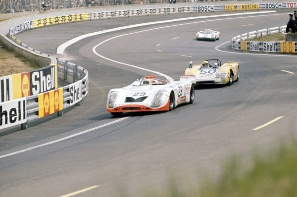 1971 Le Mans 24 hours. Le Mans, France. 12-13 June 1971. Andre Wicky/Max Cohen-Olivar (Porsche 908/02) leads Guy Edwards/Roger Enever (Lola T212-Ford) and Walter Brun/Peter Mattli (Porsche 907). World Copyright: LAT Photographic Ref: 71LM24