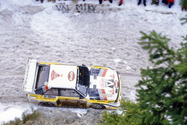 1986 World Rally Championship.Monte Carlo Rally, Monaco. 18-24 January 1986.Hannu Mikkola/Arne Hertz (Audi Sport Quattro E2), 3rd position.World Copyright: LAT PhotographicRef: 35mm transparency 86RALLY12