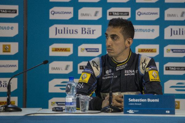 Sebastien Buemi (SUI) - Team e-dams Renault in the press conference at Formula E Championship, Rd9, Moscow, Russia, 4-6 June 2015.