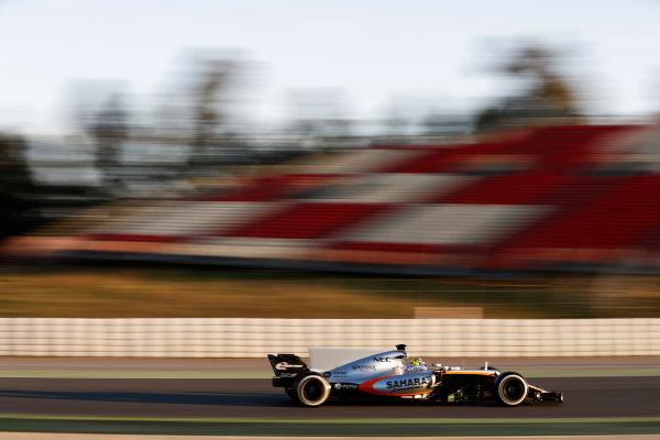 Circuit de Barcelona Catalunya, Barcelona, Spain. Thursday 02 March 2017. Sergio Perez, Force India VJM10 Mercedes. World Copyright: Glenn Dunbar/LAT Images ref: Digital Image _31I3410