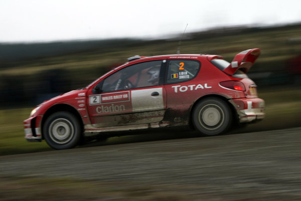 2003 FIA World Rally Champs. Round fourteen Wales Rally GB 6th-9th November 2003.Freddy Loix, Peugeot, actionWorld Copyright: McKlein/LAT