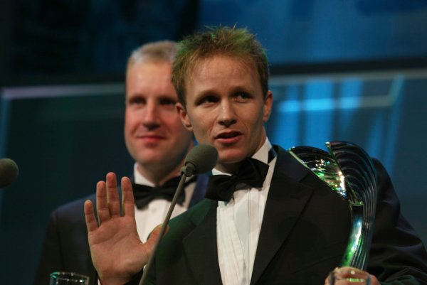 2003 AUTOSPORT AWARDS, The Grosvenor, London. 7th December 2003.Petter Solberg and Robert Reid accept International Rally Driver award.Photo: Peter Spinney/LAT PhotographicRef: Digital Image only