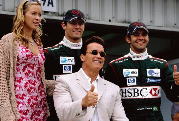 2003 British Grand PrixSilverstone, England. 18th - 20th July 2003.Arnold Schwarzenegger was a guest of the JaguarF1 teamWorld Copyright: Lorenzo Bellanca / LAT Photographicref: 35mm Image 03GB26