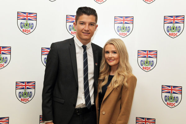 2015 British Racing Drivers Club Awards Grand Connaught Rooms, London Monday 7th December 2015 Jake Dennis with his girlfriend. World Copyright: Jakob Ebrey/LAT Photographic ref: Digital Image Dennis-07