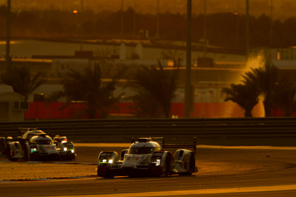 2015 FIA World Endurance Championship Bahrain 6-Hours Bahrain International Circuit, Bahrain Saturday 21 November 2015. Lucas Di Grassi, Lo?c Duval, Oliver Jarvis (#8 LMP1 Audi Sport Team Joest Audi R18 e-tron quattro) leads Marcel F?ssler, Andr? Lotterer, Beno?t Tr?luyer (#7 LMP1 Audi Sport Team Joest Audi R18 e-tron quattro). World Copyright: Sam Bloxham/LAT Photographic ref: Digital Image _G7C1693