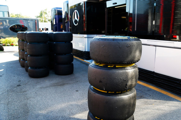 Autodromo Nazionale di Monza, Monza, Italy. Sunday 6 September 2015. Tyres. World Copyright: Jed Leicester/LAT Photographic ref: Digital Image _L2_9452