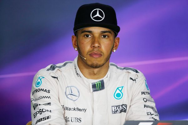 Hungaroring, Budapest, Hungary. Saturday 25 July 2015. Pole starter Lewis Hamilton, Mercedes AMG, in the post qualifying Press Conference. World Copyright: Alastair Staley/LAT Photographic ref: Digital Image _79P8663
