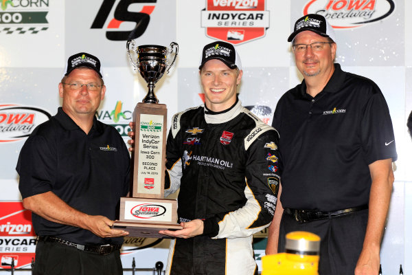 17-18 July, 2015, Newton, Iowa USA Josef Newgarden celebrates on the podium ?2015, Phillip Abbott LAT Photo USA
