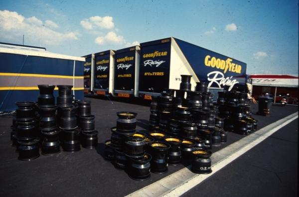 F1 tyre supplier, Goodyear, on display in the paddock. German Grand Prix, Hockenheim, 25 July 1993