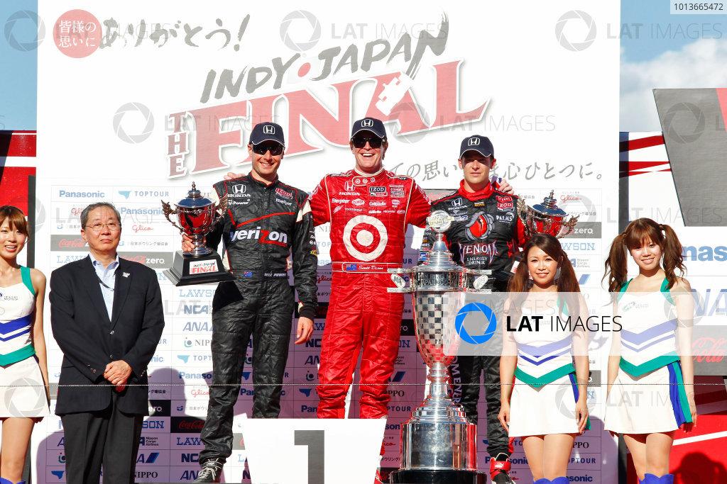 15-18 September, 2011, Twin Ring Motegi JapanScott Dixon, Will Power and Marco Andretti pose on the podium.(c)2011, Phillip AbbottLAT Photo USA