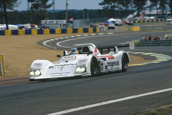 Le Mans, France. 14th - 15th June 1997.Tom Kristensen/Stefan Johansson/Michele Alboreto (TWR Porsche WSC 95), 1st position, action.World Copyright: LAT Photographic.Ref:  97LM05.