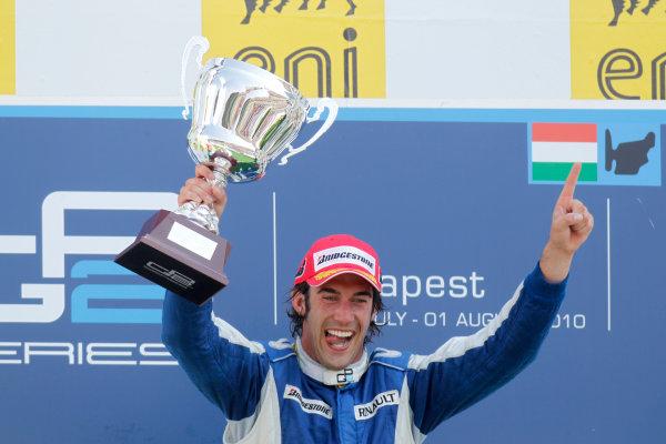 Hungaroring, Budapest, Hungary. 1st August.Sunday Race.Giacomo Ricci (ITA, DPR) celebrates his victory on the podium. Portrait.Photo: Glenn Dunbar/GP2 Media Service.Ref: __G7C5716 jpg