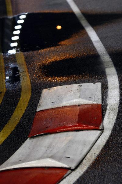 Marina Bay Circuit, Singapore.23rd September 2010.Puddles at trackside. Detail. Atmosphere. World Copyright: Charles Coates/LAT Photographicref: Digital Image _26Y4611