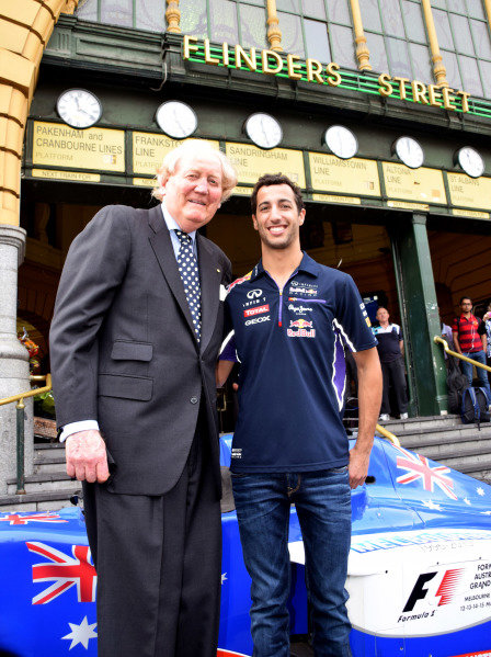 (L to R): Ron Walker (AUS) Chairman of the Australian GP Corporation and Daniel Ricciardo (AUS) Red Bull Racing help to launch the 2015 Australian Grand Prix in Melbourne. 2015 Australian Grand Prix Launch, Melbourne, Australia, 11 December 2014.
